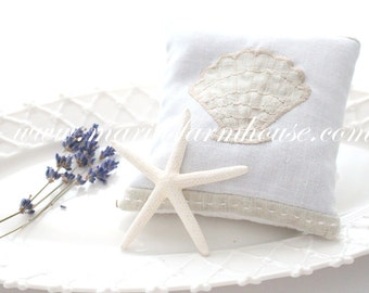 Aromatherapy, French Dried Large Lavender Sachet, Embroidered Sea Life Design, Beach Decor