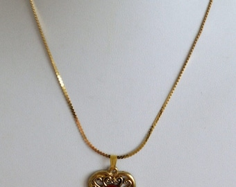 "On sale Pretty Vintage Red Rose, Heart Pendant Necklace, Gold tone, 16"" (Z10)"
