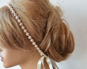 Wedding Pearl  headband, Pearl  Bridal headband,  For Weddings with Pink  Pearl, bridal hair accessory, Bridesmaid , Flower Girl Headband