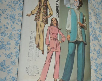 70s Simplicity 9077 Misses Vest Tunic and Pants Sewing Pattern UNCUT Size 12 Bust 34 Waist 25 1/2
