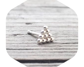 Large Silver Triangle Nose Stud