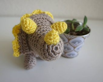 Amigurumi Crochet Stuffed Triceratops, Yellow