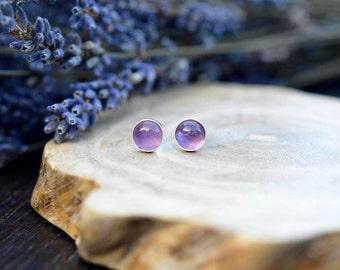 Everyday Amethyst Earrings 925 - Purple Stud Earrings - February Birthstone -Calm, Balance, Patience and Peace - February Birthstone
