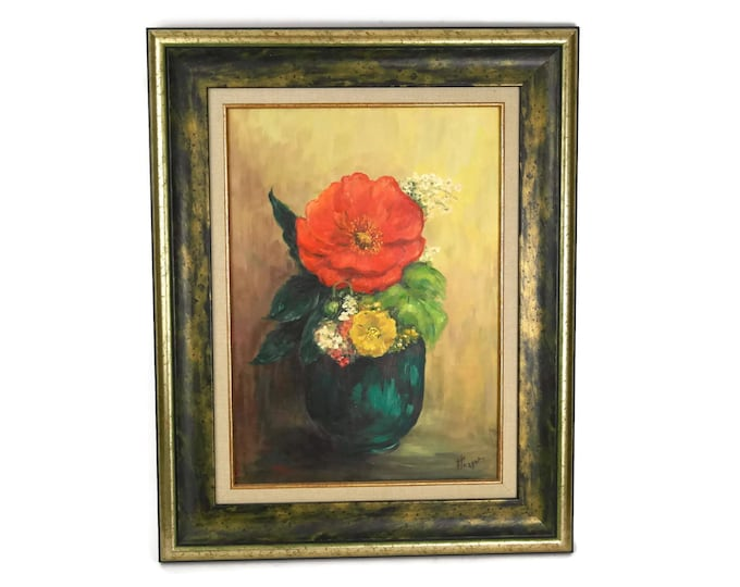 Still Life Painting of Flowers in a Teal Vase. Vintage French Oil Painting in Frame. Red and Yellow Original Art.