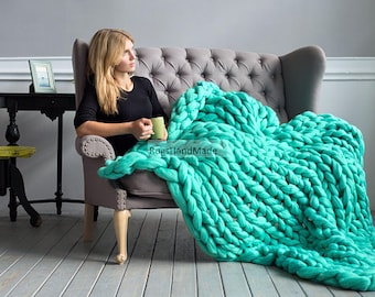 Merino wool blanket, Super Chunky Knit blanket, Super Chunky Wool blanket, Giant Knit Blanket, Chunky Yarn Knit Blanket, Hand Knit Blanket