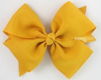 """Mustard Hair Bow - 5"""" Girls Hair Bow, Big Hair Bow, 5 inch Bows, Pinwheel Flat Hair Bow, Dark Yellow Large Hair Bows, Baby Hair Bow, Cute"""