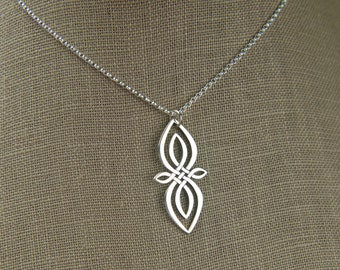 Celtic knot infinity pendant necklace in sterling silver, unique infinity, Irish jewelry, infinity necklace, large infinity, mother's day