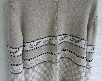 Vintage Sweater - Ladies Cardigan - Woolrich Sweater - Cotton Cardigan - Medium Size Sweater