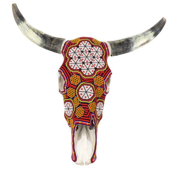 Large Huichol Beaded Bull Skull Wall Mount Authentic Mexican