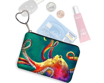 Clara Nilles Small Zipper Pouch Octopus Steampunk Coin Purse Keychain Business Card Holder Key Fob  fabric pouch teal green pink RTS