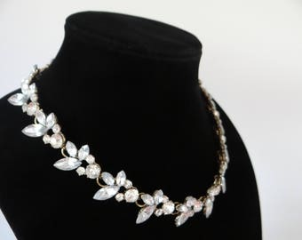 """Vintage Faceted Marquis Rhinestone Necklace with Round Faceted Rinestone Detail and Adjustable Clasp - 17-19"""" - Elegant and Classic"""
