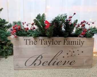 Personalised Christmas Eve Box, Large Wooden Xmas Crate Rustic Vintage Style Apple Crate. 2 designs available