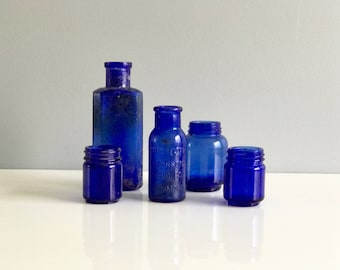 Blue Cobalt Apothecary Jars / Blue Apothecary Bottles Set