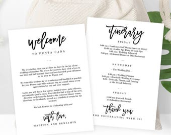 Wedding Welcome Thank You Letter and Wedding Itinerary,  DIY Wedding Welcome Bags Gift Baskets Instant Download Printable PDF Template #BCC