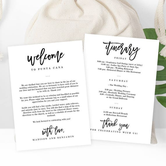 Beautiful Wedding Welcome Thank You Letter And Wedding Itinerary, DIY Wedding Welcome  Bags Gift Baskets Instant Download Printable PDF Template #BCC