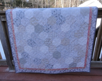 Gray, pink and white hexi quilt