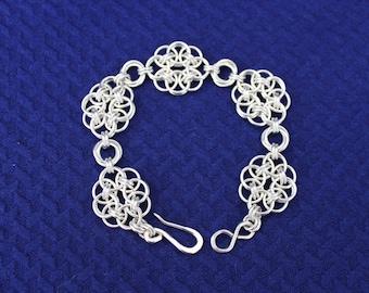 Handmade helm flower sterling silver bracelet