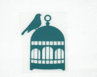 Pattern/transfer in flex fusible teal bird cage