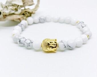 Mala Beads Bracelet, Buddha Bracelet, Yoga Bracelet, Wrist Mala, Howlite bracelet, White beaded bracelet, Gift for Her, Gift for Him, BMHB