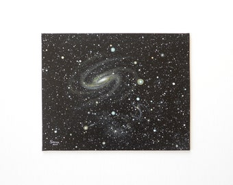 Cosmos 3 - Galaxy painting on canvas panel, original acrylic space painting, 8 x 10