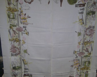 1950s PRINT KITCHEN TABLECLOTH - Harverst Table