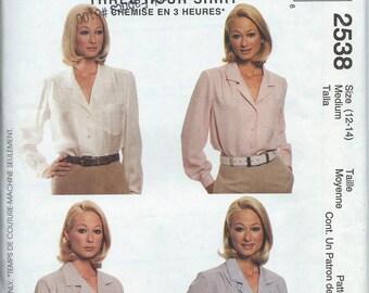 McCall's 2538 Misses' Shirt - Size Medium 12-14 - Uncut Pattern