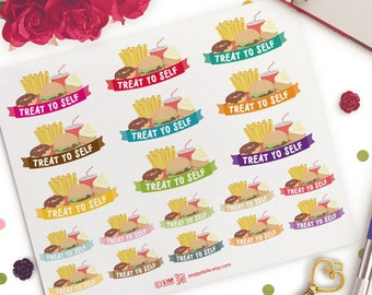 Cheat Day Treat Yo Self Planner Stickers | Life Planner | ECLP| Junk Food Stickers | Binge Eat