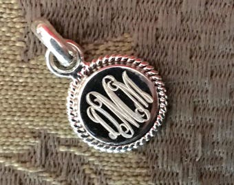 Sterling Silver Monogram Pendant with Rope Edge