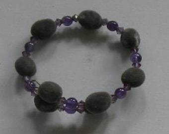 Hawaiian mgambo seed, round amethyst beads and lilac AB Swarovski crystal bracelet, handmade in Hilo, Hawaii