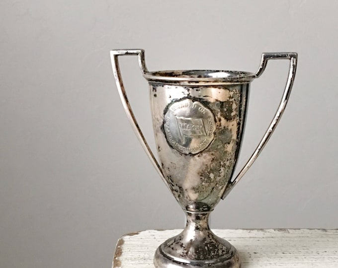 Antique Trophy Vintage Loving Cup 1940s Engraved Silverplate
