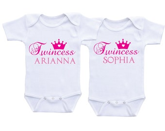 Twins onesies etsy twincess twin baby gifts personalized negle Choice Image