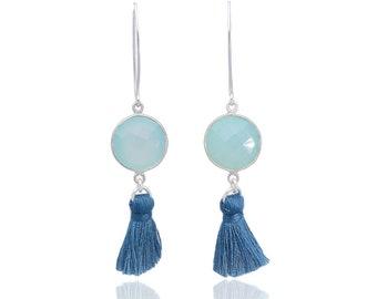 Tassel earrings, sterling silver earrings, chalcedony earrings, gemstone earrings, blue earrings, chalcedony jewelry, trendy earrings, boho