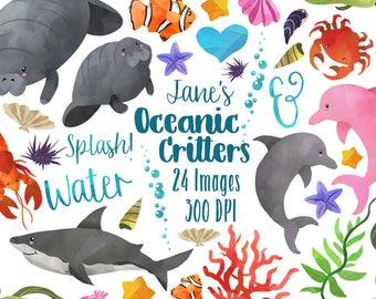 Watercolor Ocean Life Clipart - Sea Animals Download - Instant Download - Manatee - shark - dolphin - crabs