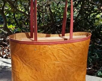 Crushed Tan Leather Tote Bag