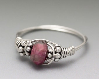 Pink Tourmaline Faceted Rubellite Bali Sterling Silver Wire Wrapped Bead Ring - Made to Order, Ships Fast!