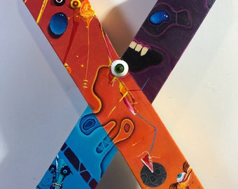 Original acrylic painting on wood panel, lowbrow art for art collectors, free shipping in the US