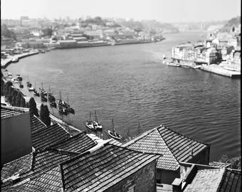 Porto, River, Signed Photography, Giclee Print, Limited Edition, Analog, Square Format, Small or Large Art, Cityscape, Douro, River, Boats