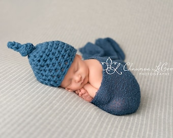 SET Knot Hat and Stretch Knit Wrap in Denim Blue Newborn Photography