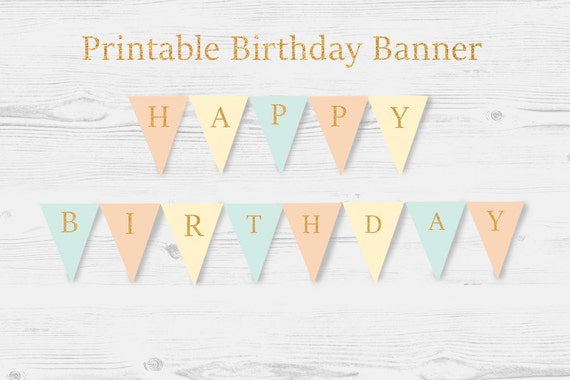 Printable Birthday Banner ~ Printable happy birthday banner gold glitter pink and gold