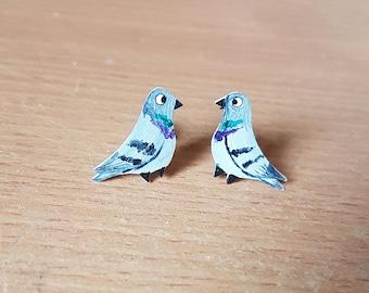 Pigeon Earrings, Studs, Jewellery, Jewelry, girl, Bird, Pigeon lovers