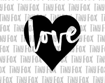 Love Heart SVG Cut File Silhouette Cameo Valentines Day  Negative Space I Love You Sweetheart Digital Heat Transfer Vinyl Design File