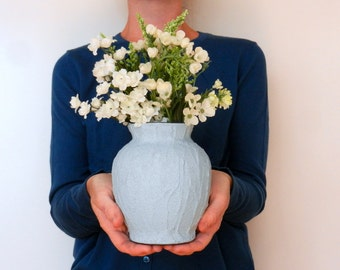 Blue Vase / Blue Home Decor / smoky blue glass and concrete vase / light blue housewares