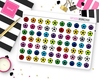 70 Soccer Ball Planner Stickers for Erin Condren Life Planner, Plum Paper, or Mambi Happy Planner || I4010