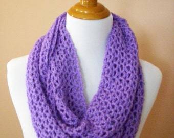 Crocheted Cowl / Infinity Scarf  / Eternity Scarf  /  Circle Scarf / Hooded Scarf / Neck Warmer /  Light Purple / Lavender