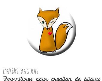 2 cabochons to glue glass 16 mm - A1180 fox Fox