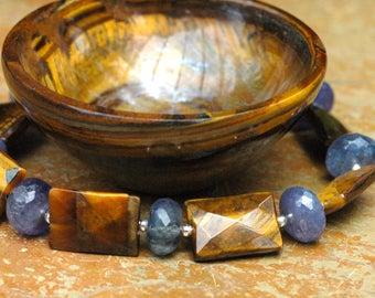 Tanzanite Bracelet; Protection Bracelet; Tiger Eye Bracelet; Healing Bracelet; Gemstone Bracelet; Sterling Silver; Tigereye Bracelet