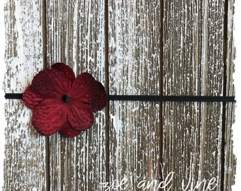 Deep Red Cranberry Wine Flower Baby Infant Headband, READY TO SHIP