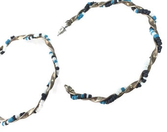 BIG Beaded Twisty Hoops Wire Wrapped Seed Beads Boho Hippie Festival Southwest Blue Turquoise White Silver Tone Pierced