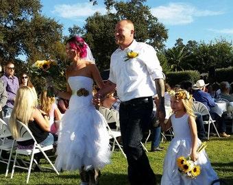 Tea Length Wedding Dress, Rehersal Dinner Dress, Reception Dress,  Handkerchief Tiered  Lace and Satin Strapless Bridal Dress