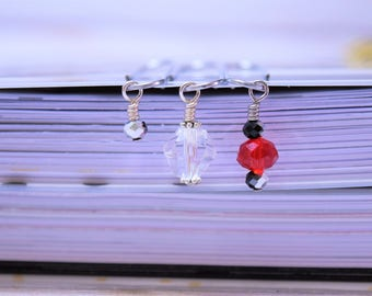 Red Beaded Paperclips, Red Paperclips, Red Planner Clips, Beaded Paperclips, Beaded Planner Clip, Red Planner Set, Beaded Paperclip Set